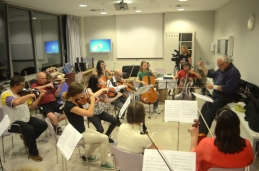 Skoraj cel orkester.